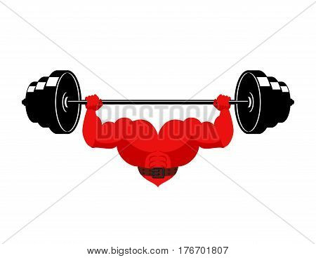 Strong Heart And Barbell. Powerful Love Athlete. Cardio Training