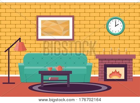 Room interior. Vector. Living design lounge. Cartoon background in flat design with fireplace and sofa.