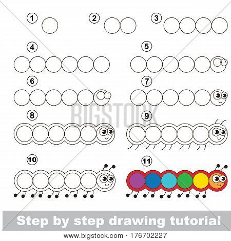 Kid education and gaming - the drawing tutorial for preschool children with easy educational kid game level, the funny drawing school. How to draw Millipede.
