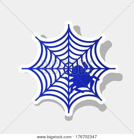 Spider on web illustration Vector. New year bluish icon with outside stroke and gray shadow on light gray background.