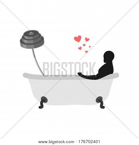 Lover Fitness Sport. Man And Barbell In Bath. Lovers Wash In Bathroom. Always Together. I Love Bodyb