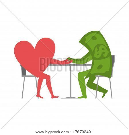 Love And Money In Cafe. Selling Love. Dollar And Heart Sitting At Table