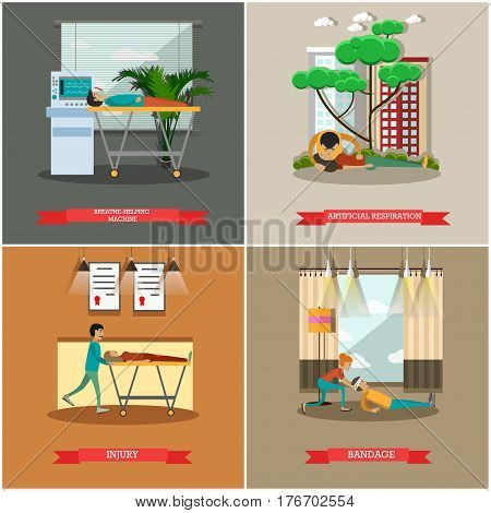 Vector set of first aid posters. Breathe-helping machine, Artificial respiration, Injury, Bandage flat style design elements.