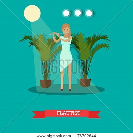 Vector illustration of musician flutist playing a flute woodwind musical instrument. Young woman flautist flat style design element.