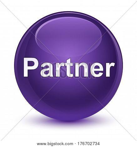 Partner Glassy Purple Round Button