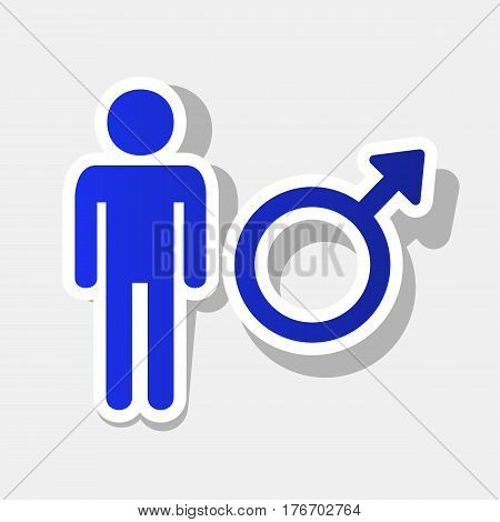 Male sign illustration. Vector. New year bluish icon with outside stroke and gray shadow on light gray background.