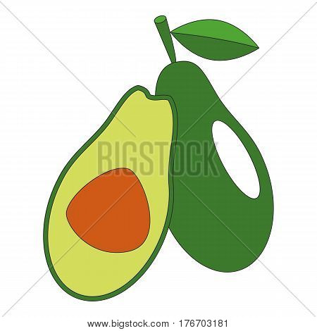 Tasty avocado cartoon. Outlined character with black stroke.