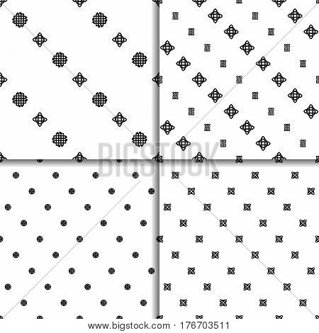 Celtic knot seamless black and white pattern set. Four ethnic abstract backgrounds.