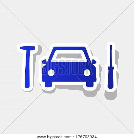 Car tire repair service sign. Vector. New year bluish icon with outside stroke and gray shadow on light gray background.