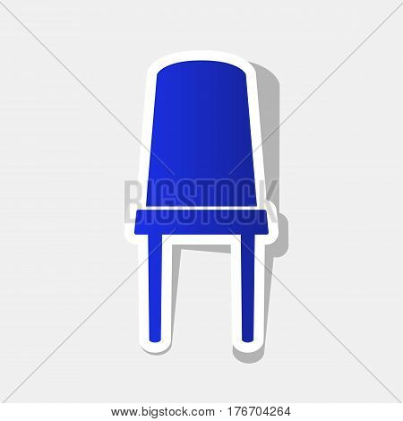 Office chair sign. Vector. New year bluish icon with outside stroke and gray shadow on light gray background.