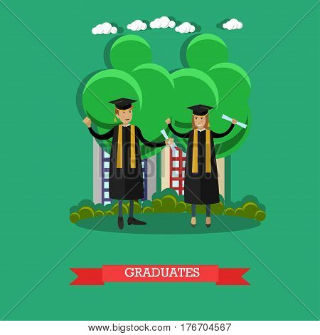 Vector illustration of happy graduates male and female with diplomas. Young people wearing graduation gowns and hats flat style design.