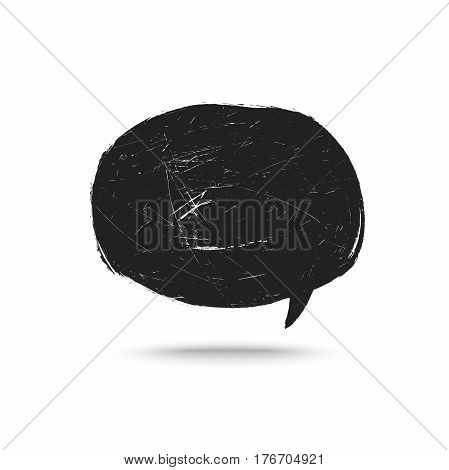 Grunge speak bubble template. Vector brushes black bubble.