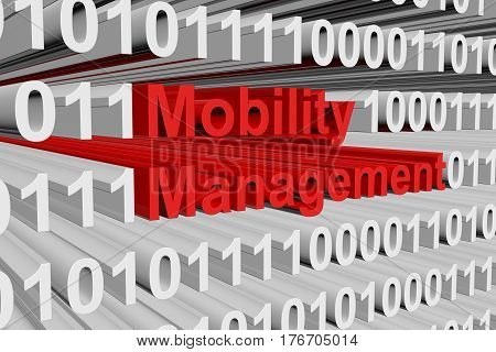 mobility management in the form of binary code, 3D illustration