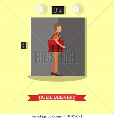 Vector illustration of courier with red delivery bag standing near elevator. Home delivery flat style design element.