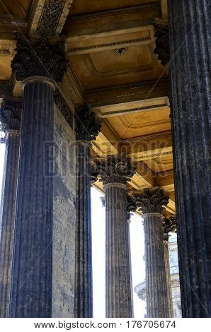 St. Petersburg Russia - April 7 2014: Columns of the Kazan Cathedral in Saint-Petersburg on Nevskiy prospect street