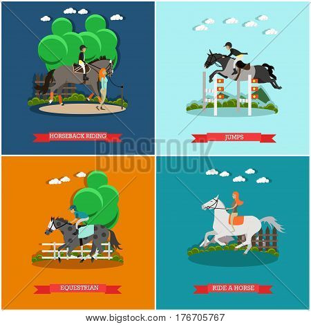 Vector set of horse concept posters. Horseback riding, Jumps, Equestrian and Ride a horse flat style design elements.