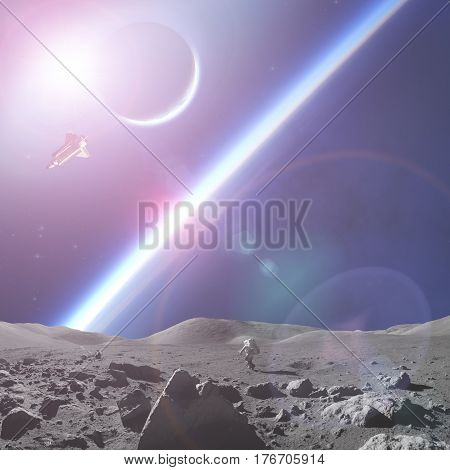 Astronaut walking on a distant planet surface. 3D render / illustration.