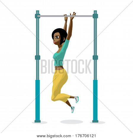 Afro young woman in sports clothes hanging on a horizontal bar in the gym. The girl pulls up on the crossbar. Flat cartoon isolated vector illustration