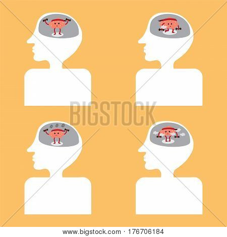 brain cartoon exercise vector illustration image showing different actions inside head and body (conceptual image about how brain is functioning)