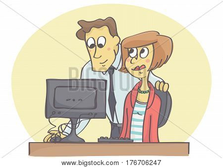 Manager or coworker helping woman on computer in the office flirting at job.