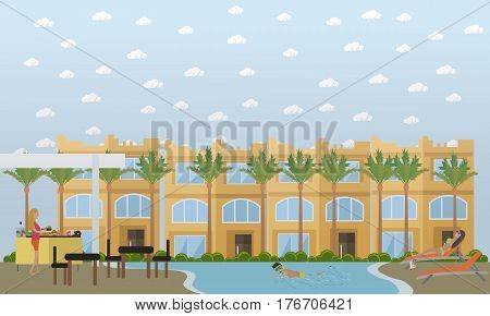 Vector illustration of hotel, egyptian resort on the beach with swimming pool, bar, lounge chairs, palm trees and tourists taking rest. Trip to Egypt concept flat style design element.