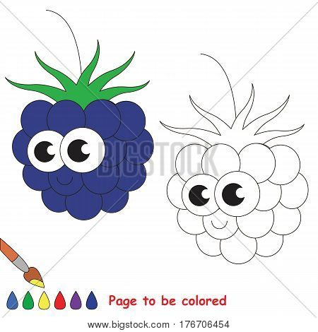 Cute blackberry to be colored. Coloring book to educate kids. Learn colors. Visual educational game. Easy kid gaming and primary education. Simple level of difficulty. Coloring pages.