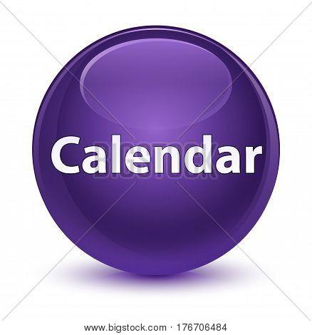 Calendar Glassy Purple Round Button