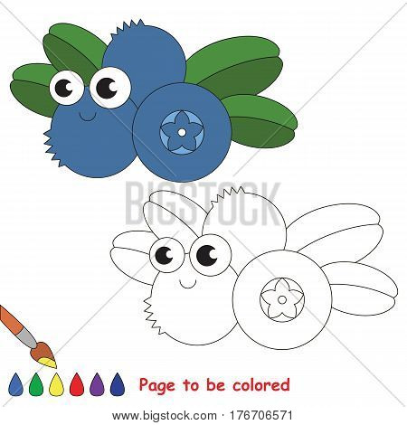Funny blueberry to be colored. Coloring book to educate kids. Learn colors. Visual educational game. Easy kid gaming and primary education. Simple level of difficulty. Coloring pages.