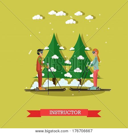 Vector illustration of ski teacher young man training girl. Private lesson. Ski instructor flat style design element.