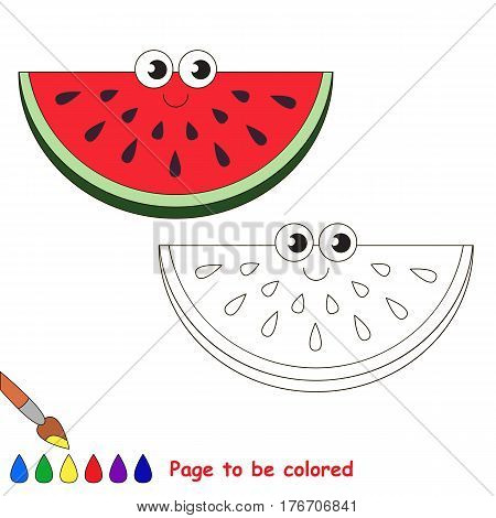 Watermelon slice to be colored. Coloring book to educate kids. Learn colors. Visual educational game. Easy kid gaming and primary education. Simple level of difficulty. Coloring pages.