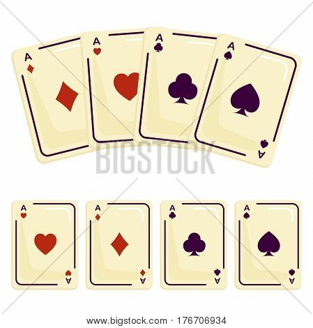 Four aces playing plastic card spades. Attributes magician. Isolated on white