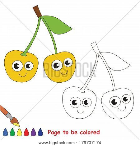 Yellow cherry to be colored. Coloring book to educate kids. Learn colors. Visual educational game. Easy kid gaming and primary education. Simple level of difficulty. Coloring pages.