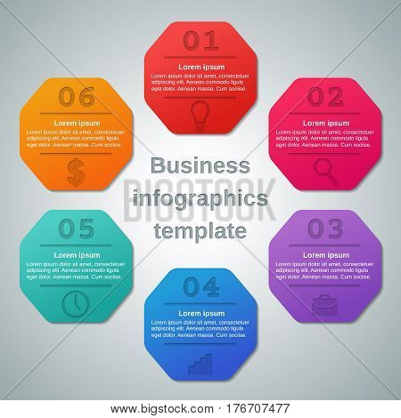 Infographics elements 6 options, parts, steps with icons. Infographic business concept. Template for brochure, web design. Vector frames for text. Info graphic data.