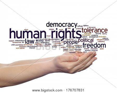 Concept or conceptual human rights political freedom or democracy abstract word cloud in hand isolated on background