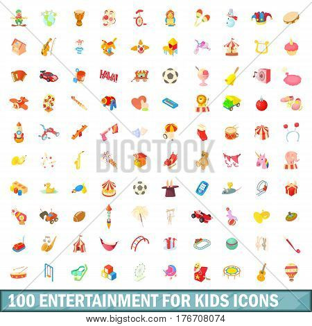 100 entertainment for kids icons set in cartoon style for any design vector illustration