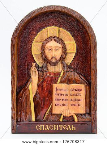 The image of Christ on the iconostasis. White background