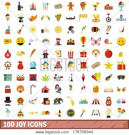 100 joy icons set in flat style for any design vector illustration