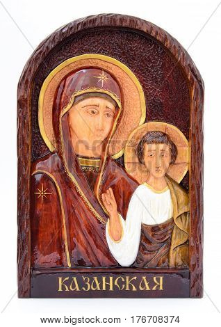 The image of the Virgin Mary on the iconostasis. White background