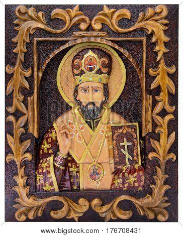 The image of Saint Nicholas on the iconostasis. White background