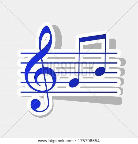 Music violin clef sign. G-clef and notes G, H. Vector. New year bluish icon with outside stroke and gray shadow on light gray background.