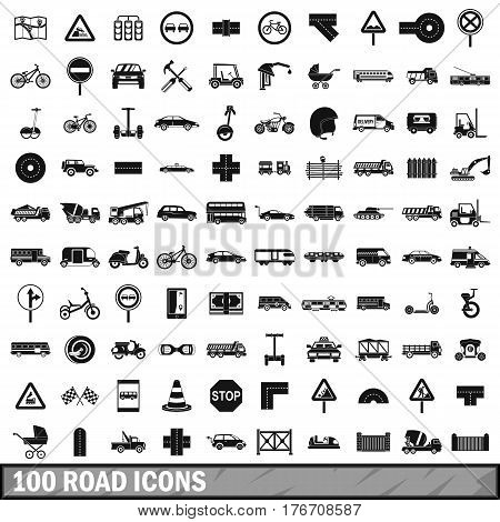 100 road icons set in simple style for any design vector illustration