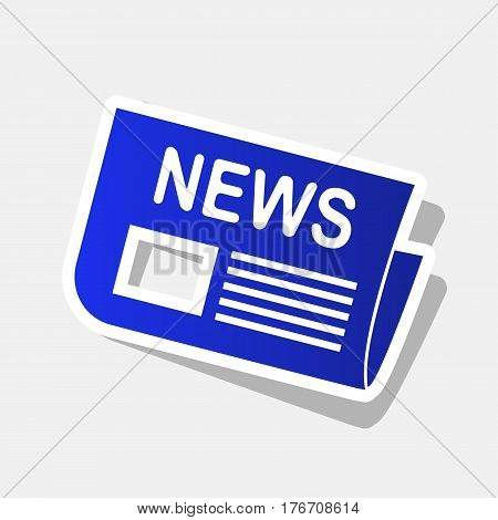 Newspaper sign. Vector. New year bluish icon with outside stroke and gray shadow on light gray background.