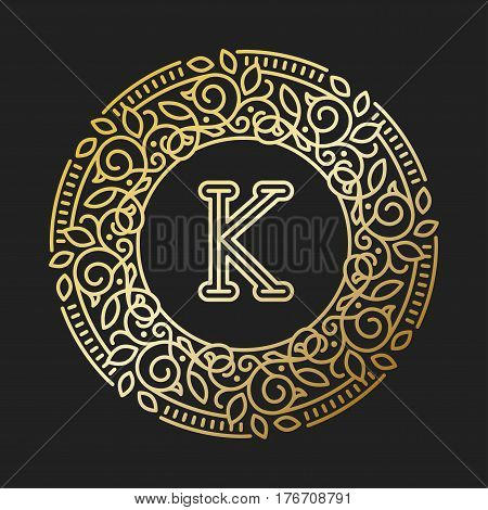 Vector sign monogram logo and text badge emblem line art vector illustration. Emblem monogram luxury badge logo template flourishes calligraphic leaves elegant ornament line vector