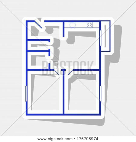 Apartment house floor plans. Vector. New year bluish icon with outside stroke and gray shadow on light gray background.