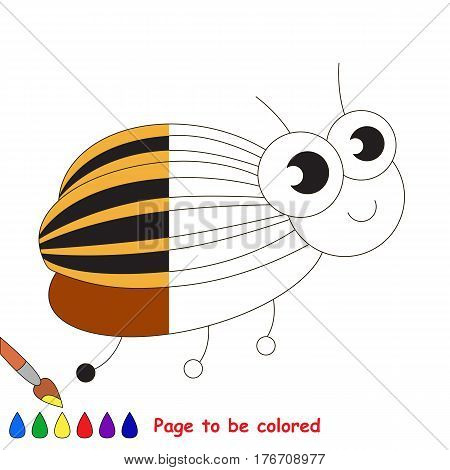 Colorado beetle to be colored, the coloring book to educate preschool kids with easy kid educational gaming and primary education of simple game level.