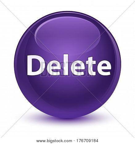 Delete Glassy Purple Round Button