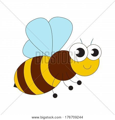 Honey bee cartoon. Outlined character with black stroke.