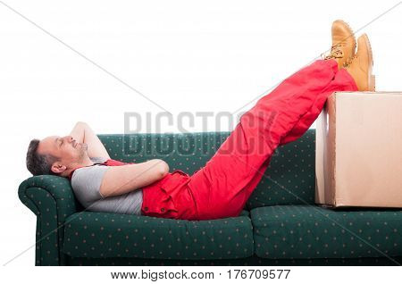 Mover Man Resting Laid Down On Couch