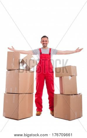Full Body Guy Standing With Arms Spread Around Cardboard Boxes