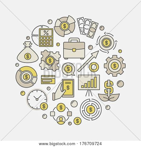 Investment round colorful illustration. Vector investments circular concept sign made with financial icons